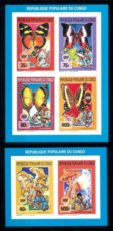[75584] Congo Brazzaville 1991 Scouting Butterflies Mushr. 2 Imperf. Sheets MNH