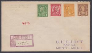 US Sc 552/690 on 1931 Registered Cover w/ BC Fancy Cancel of Brasie Corners, NY