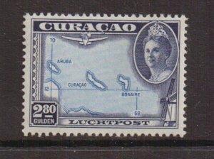 Netherlands Antilles  Curacao  #C30  MH  1942   AIR  Wilhelmina  2.80g