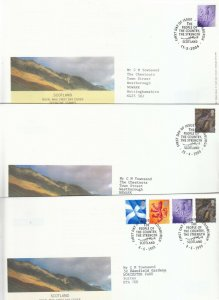 1999-2005 SCOTLAND ONE COUNTRY DEFINITIVE FIRST DAY COVERS X6