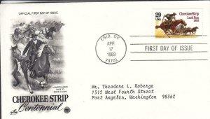 1993, 100th Anniv. Cherokee Strip, Artcraft/PCS, FDC (D15402)