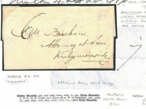 GB Cover NORTH YORKS MOORS 1807 *Additional 1d Local Charge*Kirkby Moorside BE37