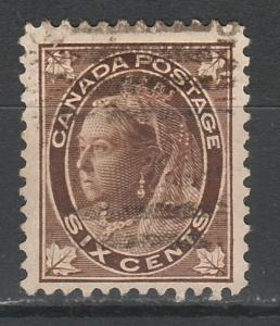 CANADA 1897 QV MAPLE LEAVES 6C USED