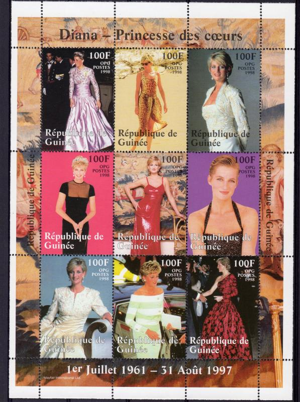 Guinea 1998 DIANA PRINCESS OF HEARTS Sheetlet (9) Perforated YT #1222/1230 MNH
