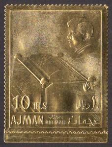 Ajman Mi #208A  mnh - 1967 JFK - Kennedy - gold foil paper