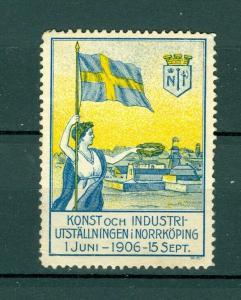 Sweden Poster Stamp MNG 1906. Art-Industry Norrkoping. Swedish Flag.