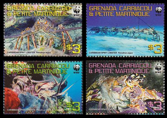 Grenada Carriacoa MNH Caribbean Spiny Lobster WWF 2009