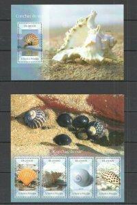 ST1691 2014 S. TOME & PRINCIPE FAUNA MARINE LIFE SEASHELLS KB+BL MNH STAMPS