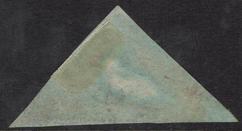 CAPE OF GOOD HOPE 1853 TRIANGLE 1D ON BLUED PAPER USED