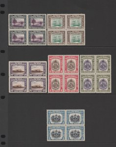 NORTH BORNEO : 1939 Pictorial set 1c-$5 blocks. MNH **. Very rare.