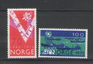 Norway Sc 555-6 1970 Liberation Anniv stamps mint NH