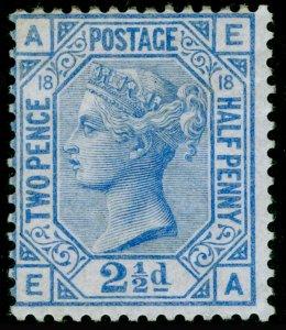 SG142, 2½d blue plate 18, M MINT. Cat £575. EA