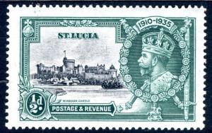 ST LUCIA-1935 Silver Jubilee ½d Black & Green with diagonal line by Turret