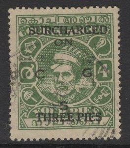 INDIA-COCHIN SGO75 1944 3p on 4p GREEN USED
