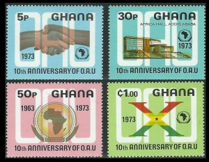 1973 Ghana 516-519 10 years Addis Ababa African Conference 3,90 €