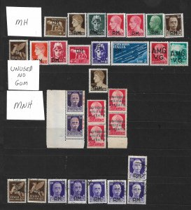 COLLECTION LOT OF # 831 ITALY 30 MILITARY/OCCUPIED STAMPS 1943+ CLEARANCE CV+$29