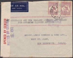 AUSTRALIA 1941 4/- Rate CALIFORNIA CLIPPER  censor cover to Canada..........N548