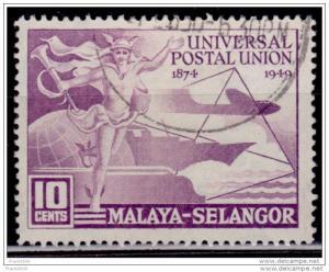 Malaya, Selangor 1949, UPU Issue, 10c, Scott# 76 used