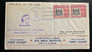1941 Suva Fiji First Flight Cover FFC To San Pedro CA USA Transpacific