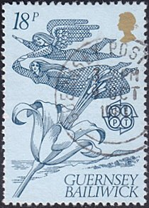 Guernsey # 223 used ~ 18p Guernsey Lily and Angels