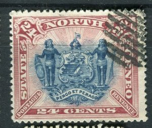 NORTH BORNEO; 1894 early pictorial issue fine used 24c. value