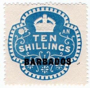 (I.B) Barbados Revenue : Duty Stamp 10/-