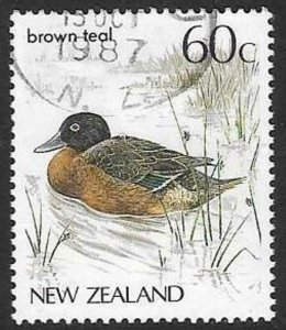 NEW ZEALAND SG1291 1987 60c TEAL FINE USED