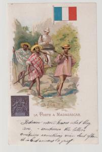 1900 England Postcard cover mail service to Madagascar Colonial Post UPU