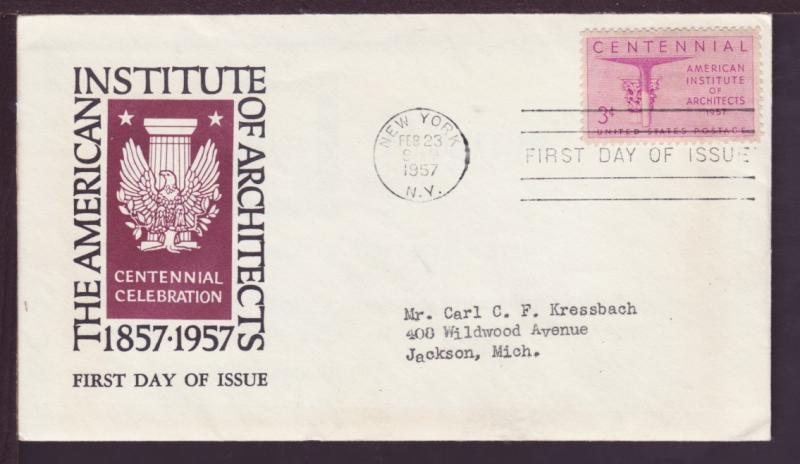 US 1089 Architects 1957 1st Architects Typed FDC