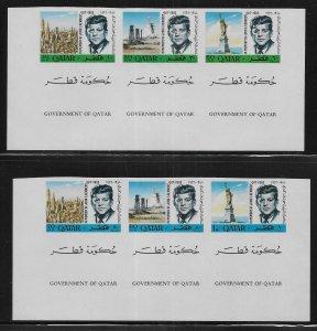 Qatar 102-102A NOTE Kennedy strip IMPERF MNH c.v. $17.50 (z1)