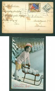 Denmark.Christmas Card 1916 With Seal + 3 Ore. Copenh. Girl With Sled. 24 Dec