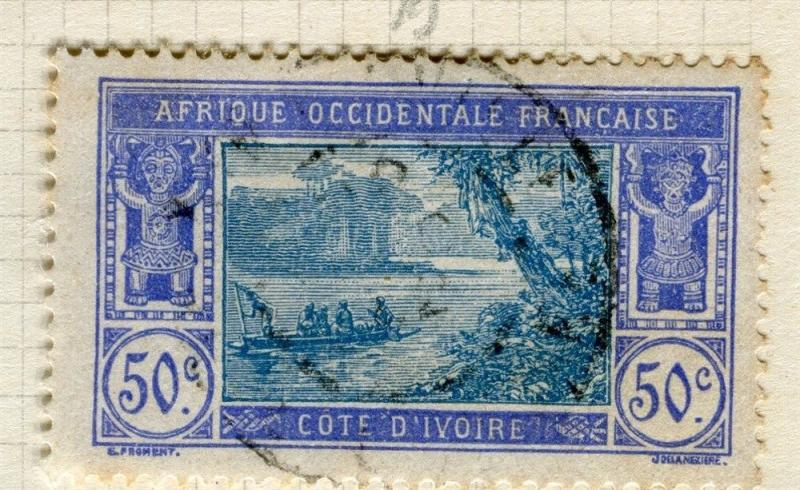 FRENCH COLONIES;  IVORY COAST early 1900s pictorial issue used 50c. value