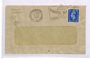 CR191 1945 GB Crown Agents Official Cover UNITED NATIONS Slogan{samwells-covers}