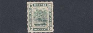 BRUNEI  1907  S G 23  1C   BLACK & PALE GREEN  MH  LIGHTLY TONED   MH