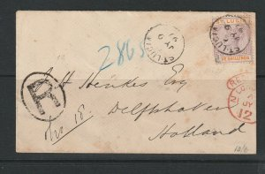 St Lucia 1897 Registered QV cover to Rotterdam, Holland, with 5/- QV Def, SG 51