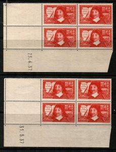 France Scott 330-31 stamps are Mint NH blocks (read description)