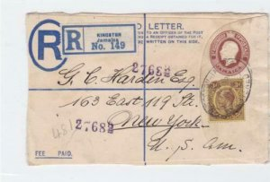 kingston jamaica registered  stamps cover front only ref r14509