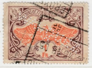 Perfin Belgium Parcel Post & Railway 1902-14 1fr Used Stamp A19P48F963