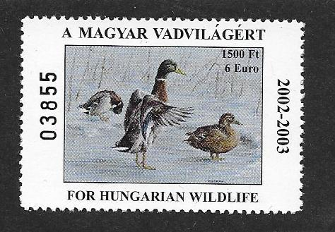 Appears as A Malard Duck Stamp Very Fine,  2002 stamp Face 1500 Ft - 6 Euro