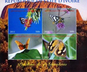 Butterflies of AUSTRALIA  Sheet (4) Perforated Mint (NH)