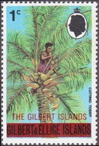 Gilbert Islands # 253 mnh ~ 1¢ Harvesting Copra, overprint