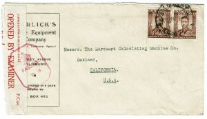Southern Rhodesia 1944 Salisbury cancel on ad cover to the U.S., censored