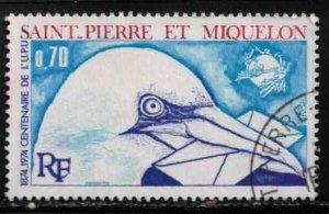 ST PIERRE & MIQUELON Scott # 432 Used - Bird - Gannet Holding Letter