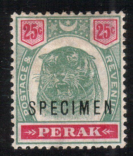 MALAYA PERAK 1895 25c Tiger optd SPECIMEN fine mint SG73...................10505