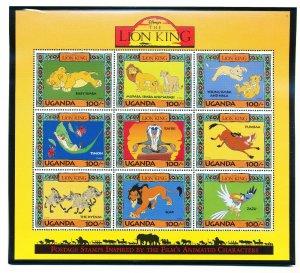 UGANDA - Scott 1266-1271 -  VFMNH - DISNEY - LION KING  - 3 scans - 1994