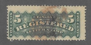 Canada Scott #F2 Used 5c Registration stamp 2018 CV $6.00