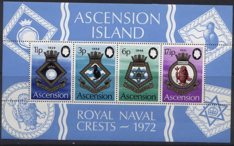 Ascension Island 159a MNH Royal Naval Crests, Bird, Military