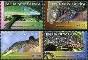 Papua New Guinea. 2011. Monitor Lizards (MNH OG) Set of 4 stamps