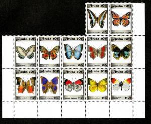 Aruba Mint NH Butterflies Sheet!