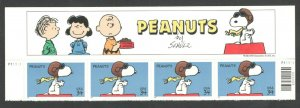 3507 Peanuts Comic Strip Header With 4 Stamps & Plate Numbers MNH FREE SHIPPING